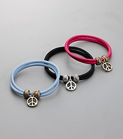 Lucky Brand® Set of 3 Elastic Hair Bands with Peace Charms - Multi