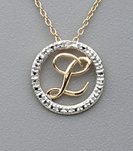 18K Yellow Gold Over Sterling Silver Genuine Diamond Accent Letter