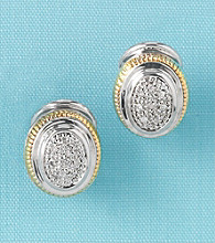 Sterling Silver and 14K Gold Diamond Accent Omega Back Earrings