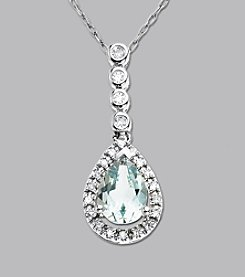 Teardrop Aquamarine & Diamond Pendant in 10K White Gold