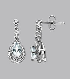 Teardrop Aquamarine & Diamond Earrings in 10K White Gold