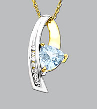 Trillion-cut Aquamarine & Diamond Pendant in 10K White Gold
