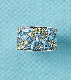 Blue Topaz and Peridot Ring in Sterling Silver