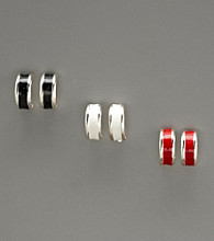 Studio Works® Epoxy Hoop Trio Earrings - Silver/White/Red/Black