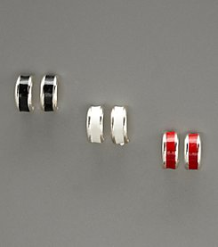 Studio Works® Set of Three Silver/White/Red/Black Epoxy Hoop Earrings