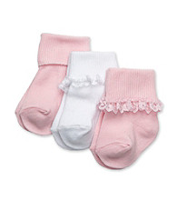 Cuddle Bear® Baby Girls' Pink/White 3-pk. Lace Socks