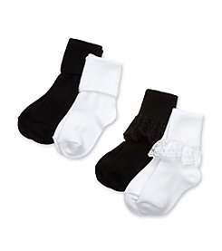 Little Miss Attitude Girls' Black Lace Socks