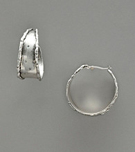 Nine West Vintage America Collection® Textured Hoop Earrings - Silver Ox Tone