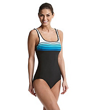 Reebok® Striped Tank Maillot Swimsuit - Black/Aqua