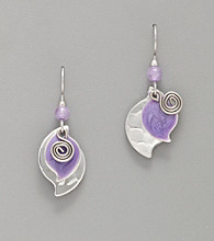 Silver Forest® Silvertone and Purple Paisley Drop Earrings