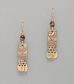 Silver Forest® Mixed Metal Heart on Rectangle w/Oval Drop Earrings - Gold/Silver/Copper