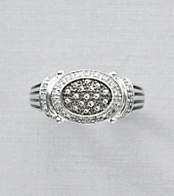 Brown Diamond Ring in Sterling Silver