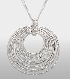 Multi Circle Sterling Silver Pendant with Diamond Accent