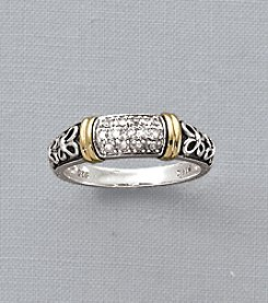 Sterling Silver and 14K Gold Ring with Diamond Accents