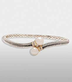 Freshwater Pearl Bangle Bracelet in Sterling Silver and 14K Gold