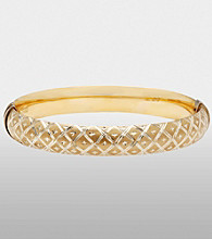 Sterling Silver and 14K Gold Diamond Cut Quilted Bangle Bracelet