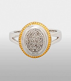 Sterling Silver and 14K Gold, Diamond Accent Ring