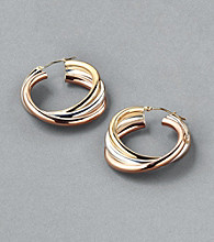 Sterling Silver and 14K Gold Tri-Color Twist Hoop Earrings