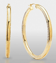 Sterling Silver and 14K Gold Diamond Cut Hoop Earrings