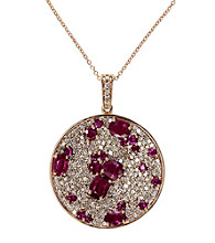 Effy® Ruby and Diamond 1.24 ct. t.w. Pendant in 14K Rose Gold