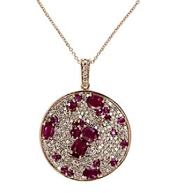 Effy® Amore Collection Ruby and Diamond 1.24 ct. t.w. Pendant in 14K Rose Gold