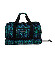 J World Single Handle Expandable Rolling Duffel in Squares Blue