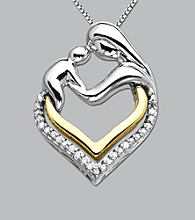 Diamond Mother & Child Heart Pendant