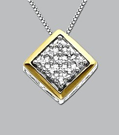 Sterling Silver and 14K Gold Diamond Pendant