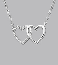 10K White Gold Diamond Interlock Heart Pendant