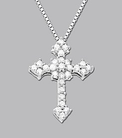 Sterling Silver .25 ct. t.w. Diamond Cross Pendant