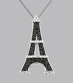 Sterling Silver Black Sapphire and Diamond Eiffel Tower Pendant