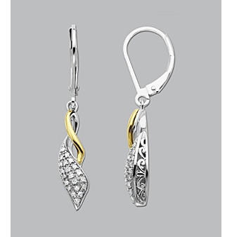 Sterling Silver and 14K Gold .20 ct. t.w. Diamond Earrings