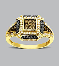 10K Yellow Gold .50 ct. t.w. Brown/White Diamond Ring