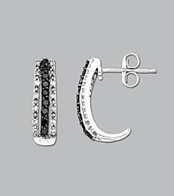 10K White Gold .33 ct. t.w. Black/White Diamond Earrings