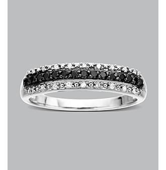 10K White Gold .20 ct. t.w. Black and White Diamond Band Ring