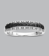10K White Gold .20 ct. t.w. Black/White Diamond Band