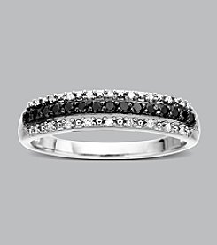 10K White Gold .20 ct. t.w. Black and White Diamond Band Ring