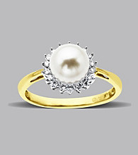 10K Yellow Gold Freshwater Pearl Diamond Ring
