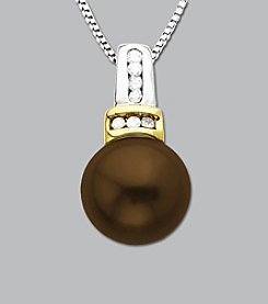 Sterling Silver and 14K Gold Chocolate Pearl Diamond Pendant
