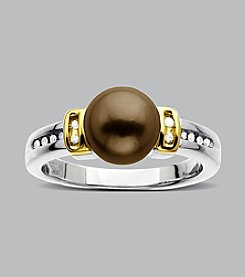 Sterling Silver and 14K Gold Chocolate Pearl Diamond Ring