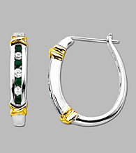 Sterling Silver and 14K Gold Emerald Pierced Hoop Earrings