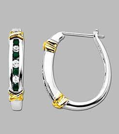 Sterling Silver and 14K Gold Emerald and White Sapphire Hoop Earrings