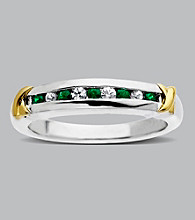 Sterling Silver and 14K Gold Emerald Band