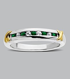 Sterling Silver and 14K Gold Emerald Band Ring