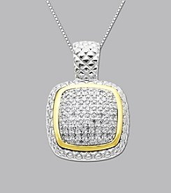 Sterling Silver and 14K Gold .20 ct. t.w. Diamond Pendant