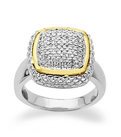Sterling Silver and 14K Gold .20 ct. t.w. Diamond Ring