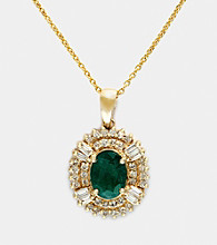 Effy® Emerald and .40 ct. t.w. Diamond Pendant