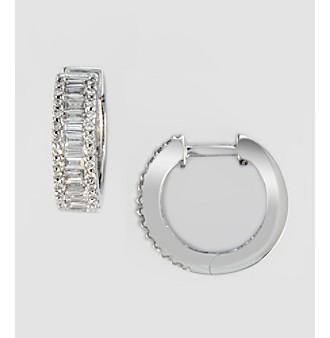 Effy® .75 ct. t.w. Diamond Hoop Earrings in White Gold
