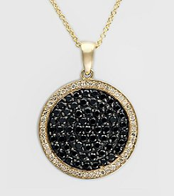 Effy® 1.31 ct. t.w. Black & White Diamond Cluster Pendant in Yellow Gold