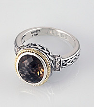 Effy® Smoky Quartz and Brown Diamond Ring